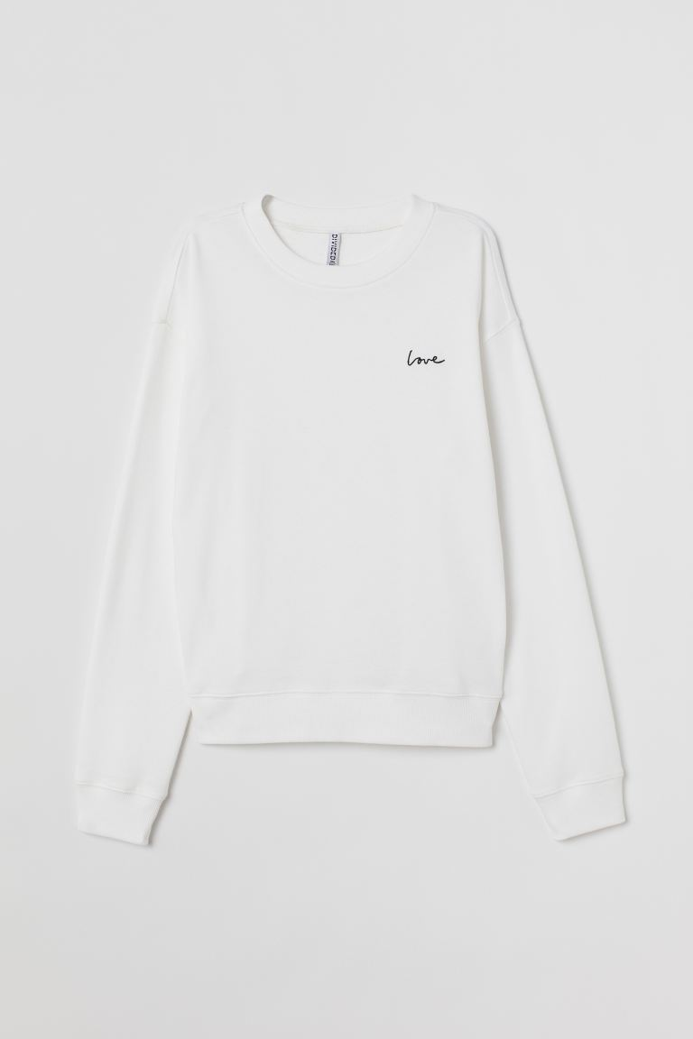 Sweat-shirt - Blanc/Love - FEMME | H&M BE