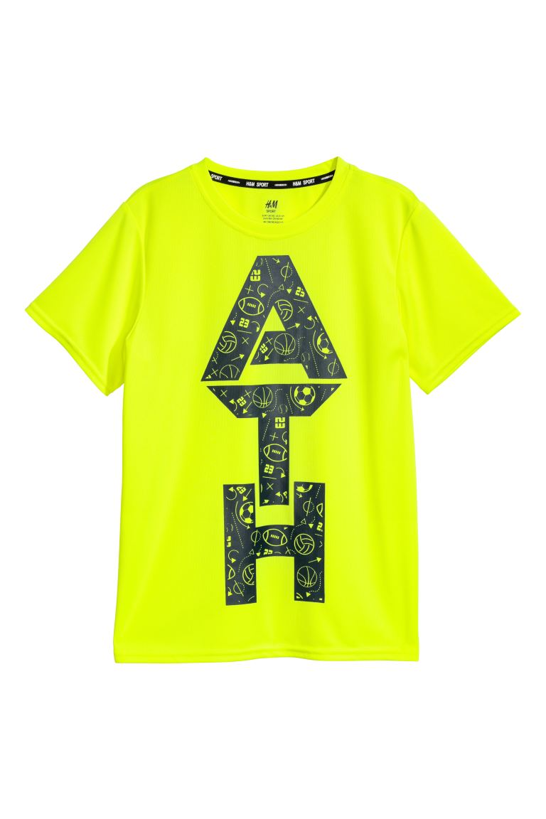 Short-sleeved sports top - Neon yellow - Kids | H&M GB