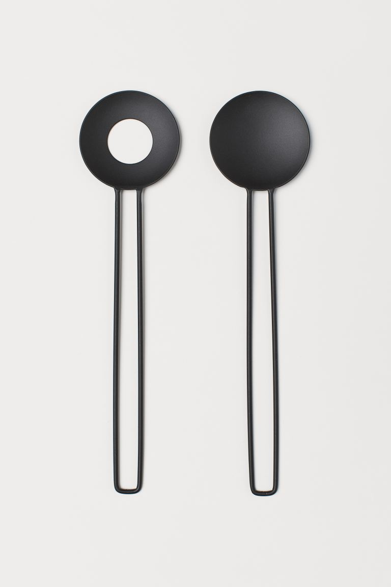 Round-headed Salad Servers - Black - Home All | H&M CA