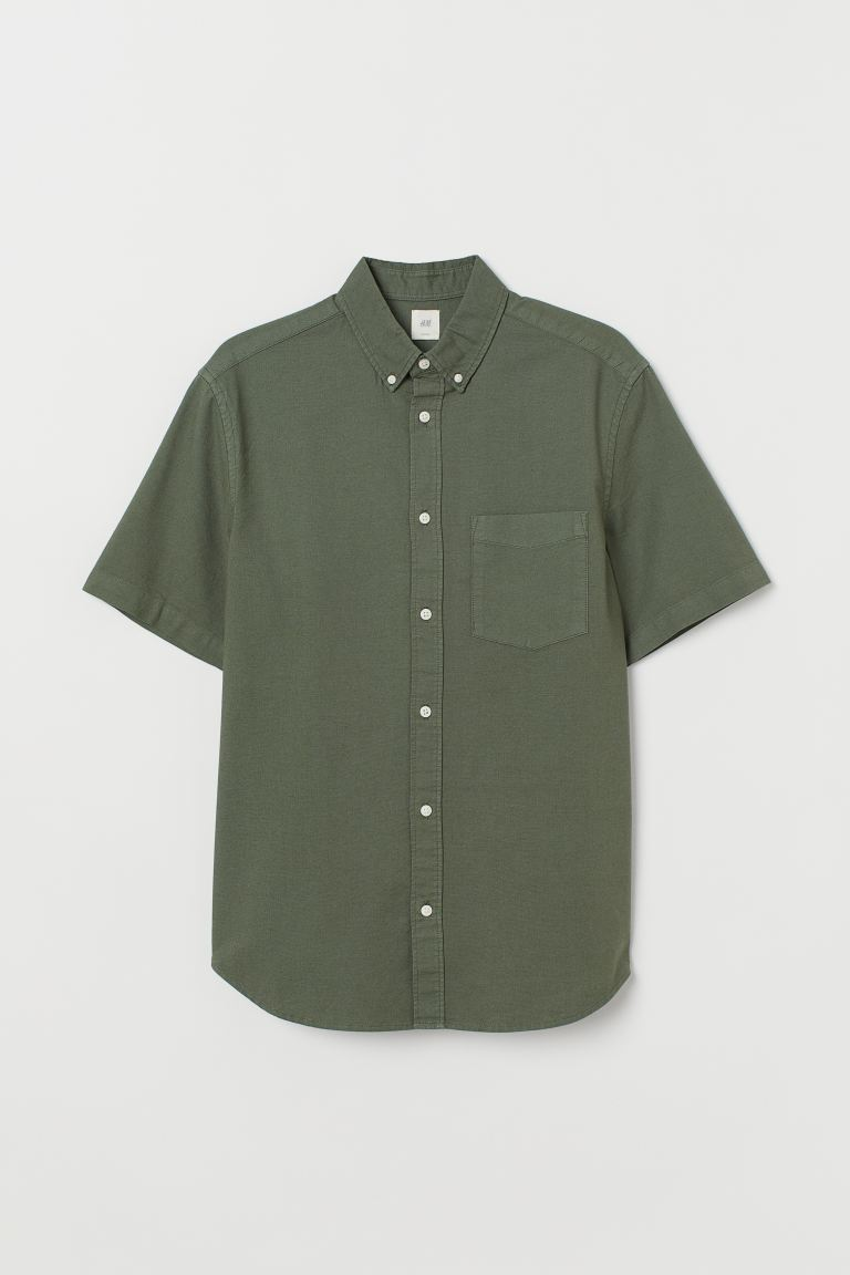Camisa Oxford Regular Fit - Verde caqui - HOMBRE | H&M ES