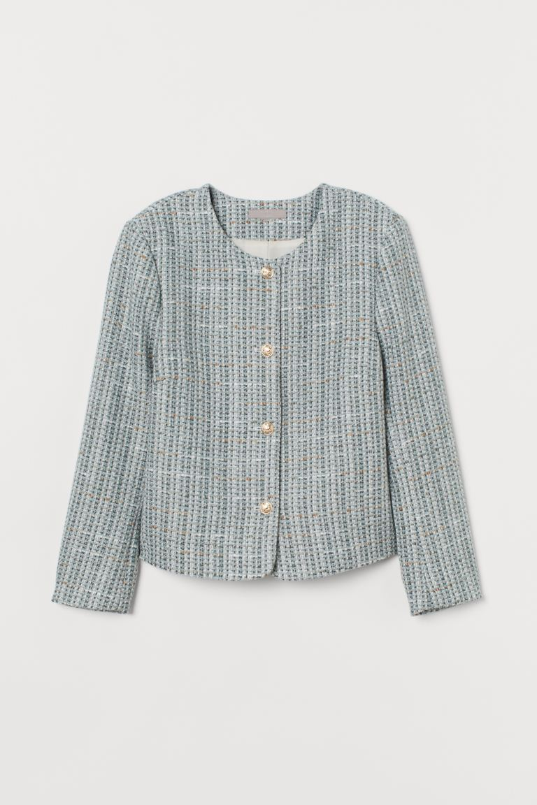 Bouclé Jacket - Mint green/Multicolour - Ladies | H&M AU