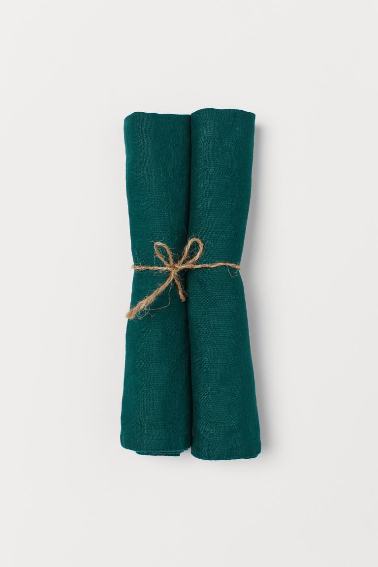 2-pack Linen Napkins - Dark green - Home All | H&M US