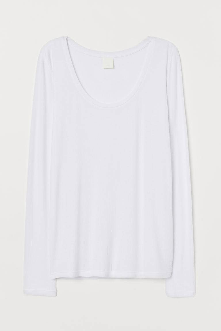 Ribbed jersey top - White -  | H&M