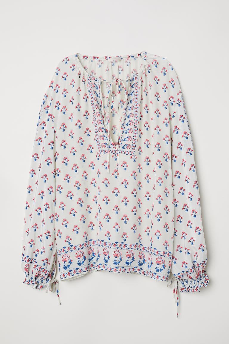 Wide blouse - Natural white/Floral - Ladies | H&M GB