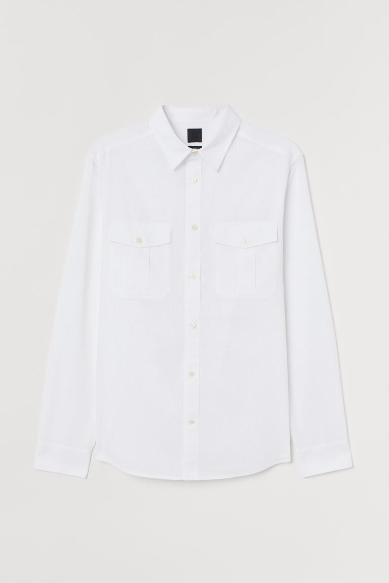 Linen-blend Shirt - White - Men | H&M US