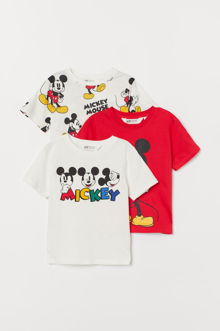 3-pack printed T-shirts - White/Mickey Mouse - Kids | H&M GB