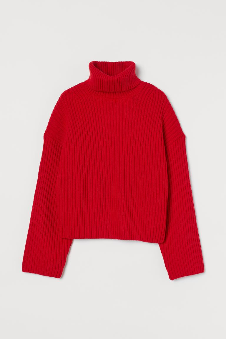 Ribbed Jumper Red