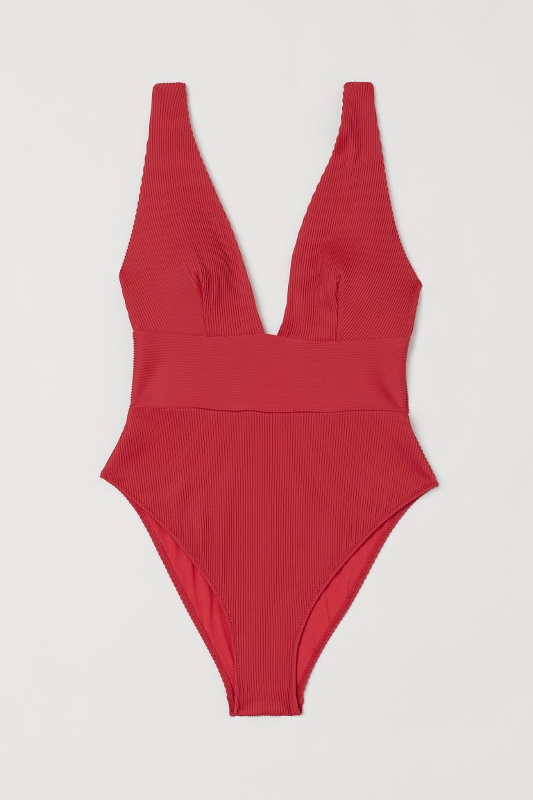 High Leg Ribbed Swimsuit - Bright red - Ladies | H&M US