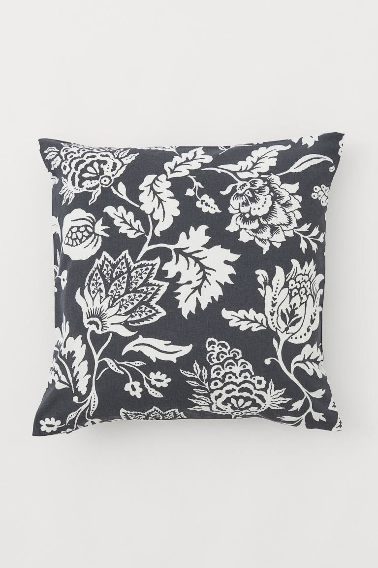 Patterned cotton cushion cover - Anthracite grey/Floral - Home All | H&M IE