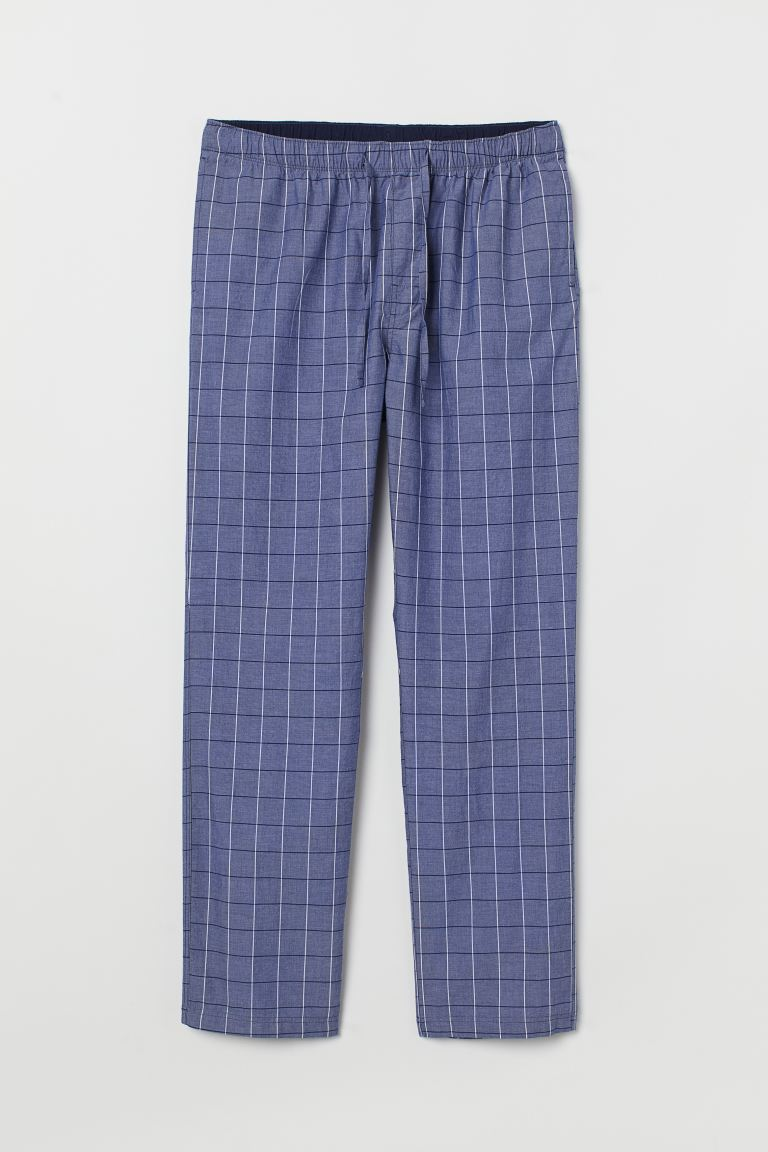 Pyjama bottoms - Blue/White checked - Men | H&M