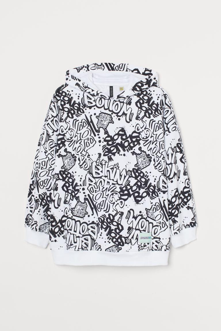 H&M+ Hoodie imprimé - Blanc/Bob l'éponge - FEMME | H&M FR