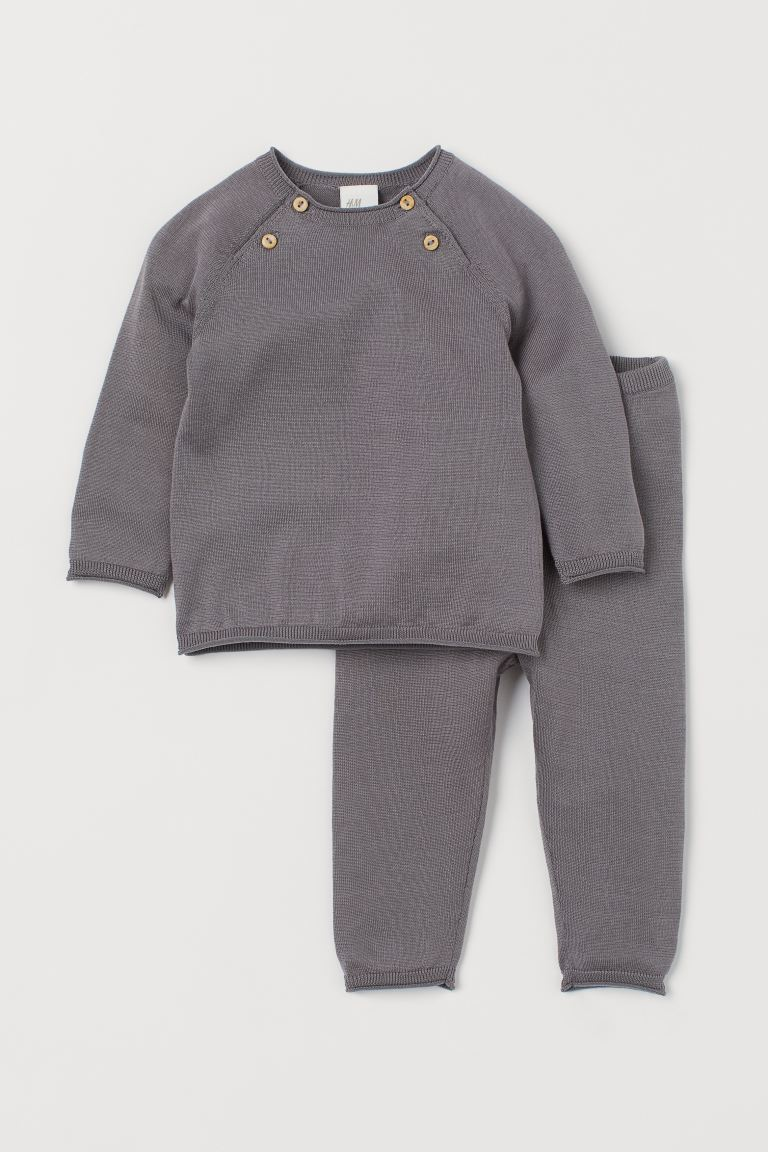 Silk-blend Sweater and Pants - Gray - Kids | H&M US