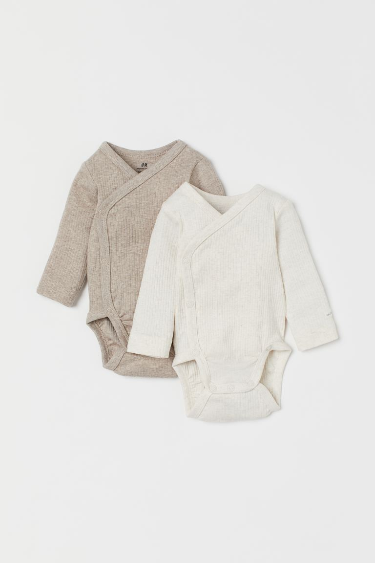 2-pack long-sleeved bodysuits - Light mole/Light beige marl - Kids | H&M