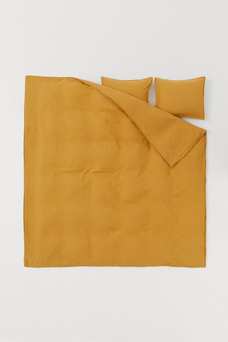 Washed linen duvet cover set - Dark yellow - Home All | H&M GB