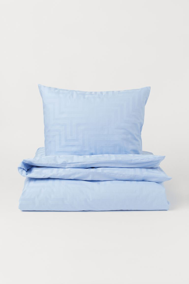 Set copripiumino in satin - Azzurro/fantasia - HOME | H&M IT