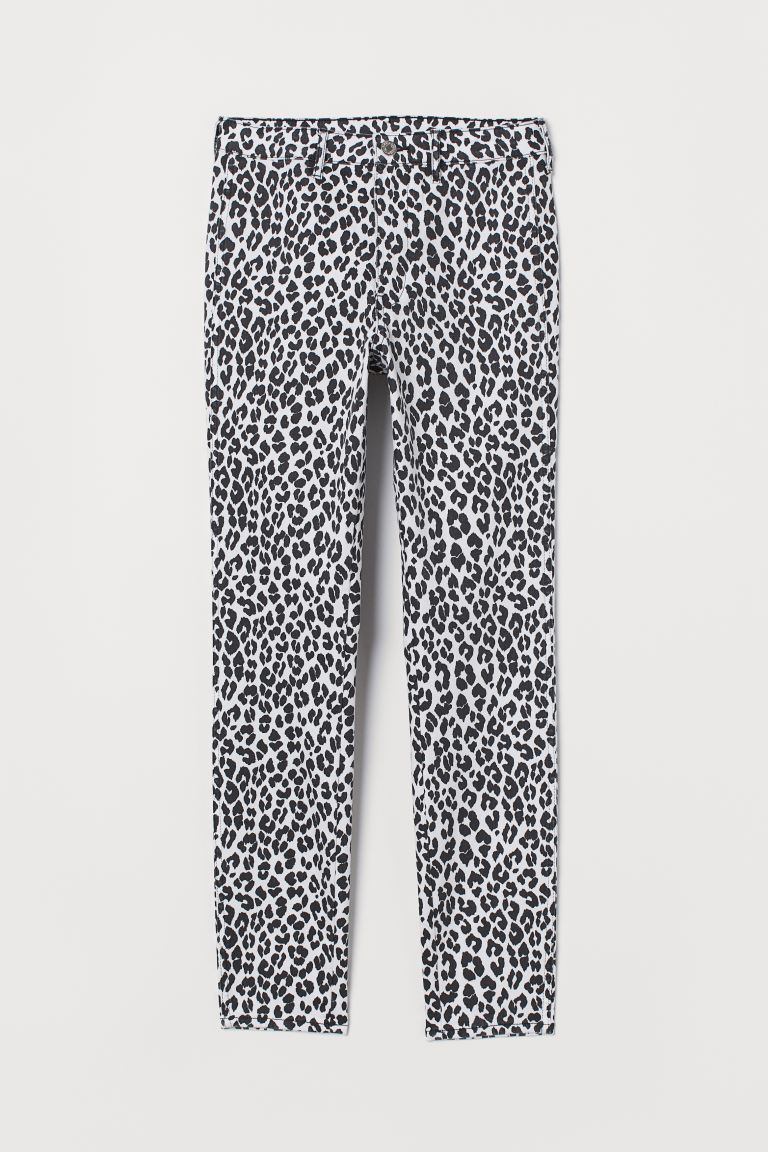 Skinny High Ankle Jeans White Leopard Print Ladies H M Gb