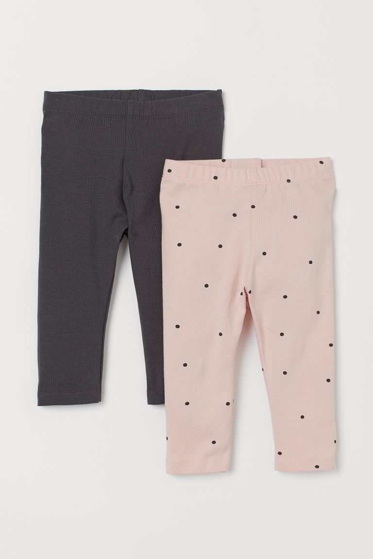 2-pack leggings - Light pink/Spotted - Kids | H&M GB