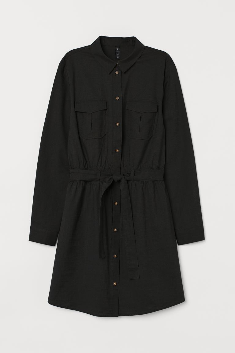 Cotton Utility Dress - Black - Ladies | H&M AU