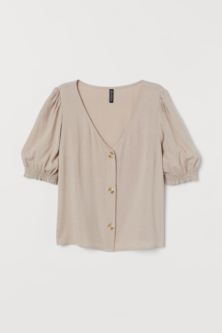 Puff Sleeve Blouse - Light beige - Ladies | H&M AU