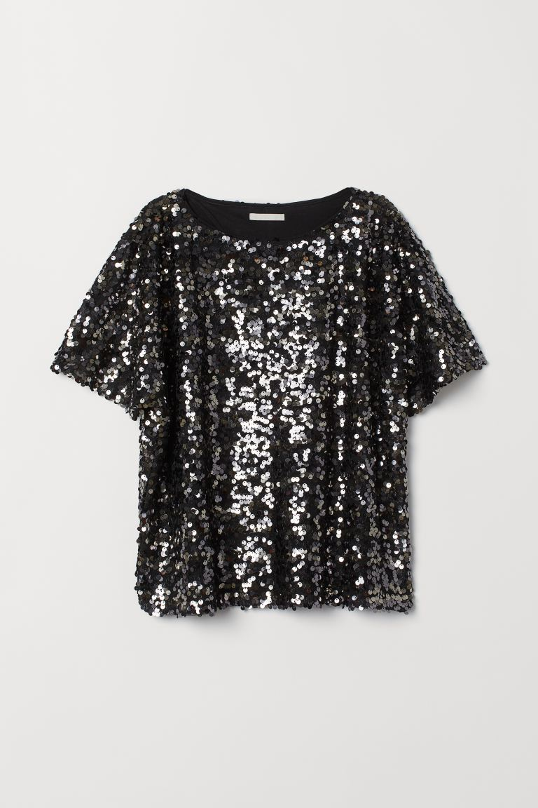 Top with sequins - Black/Silver-coloured - Ladies | H&M GB