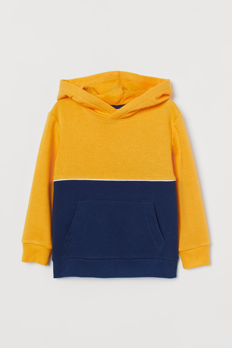 Hooded top - Yellow/Navy blue -  | H&M