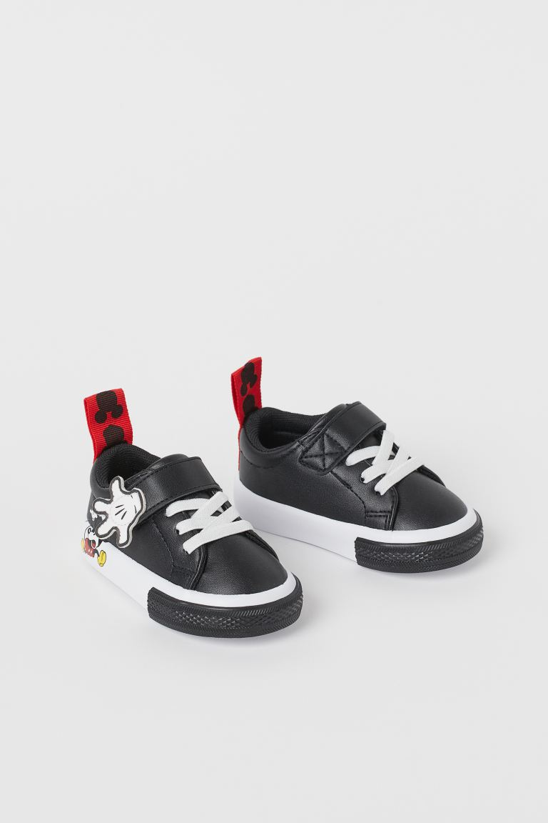 Printed Sneakers - Black/Mickey Mouse - Kids | H&M US