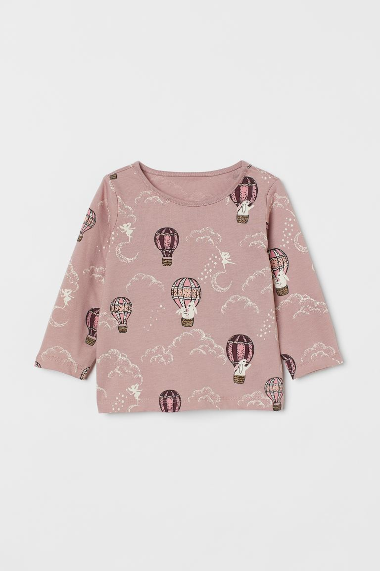 Jerseyshirt mit Druck   Mattrosa/Heißluftballons   Kids   H&M DE