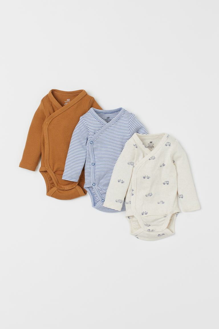 3-pack long-sleeved bodysuits - Dark beige/Cars - Kids | H&M GB