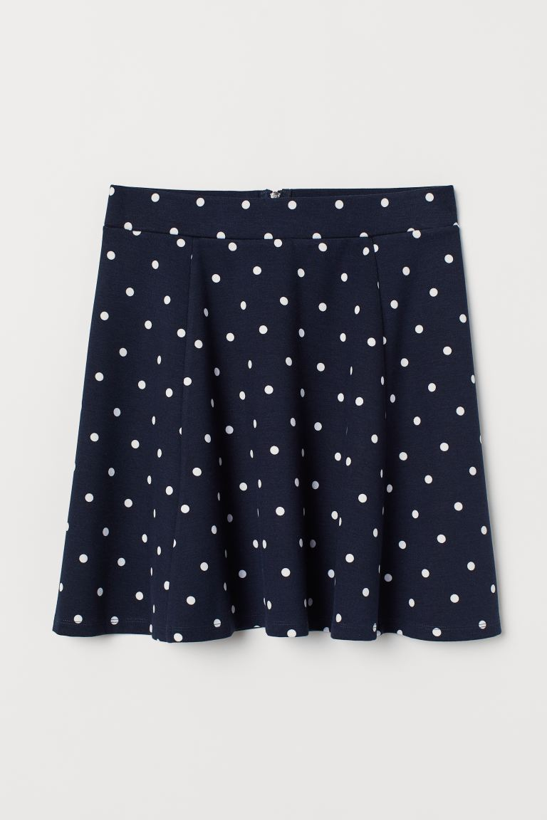 Skater Skirt - Dark blue/white dotted - Ladies | H&M US
