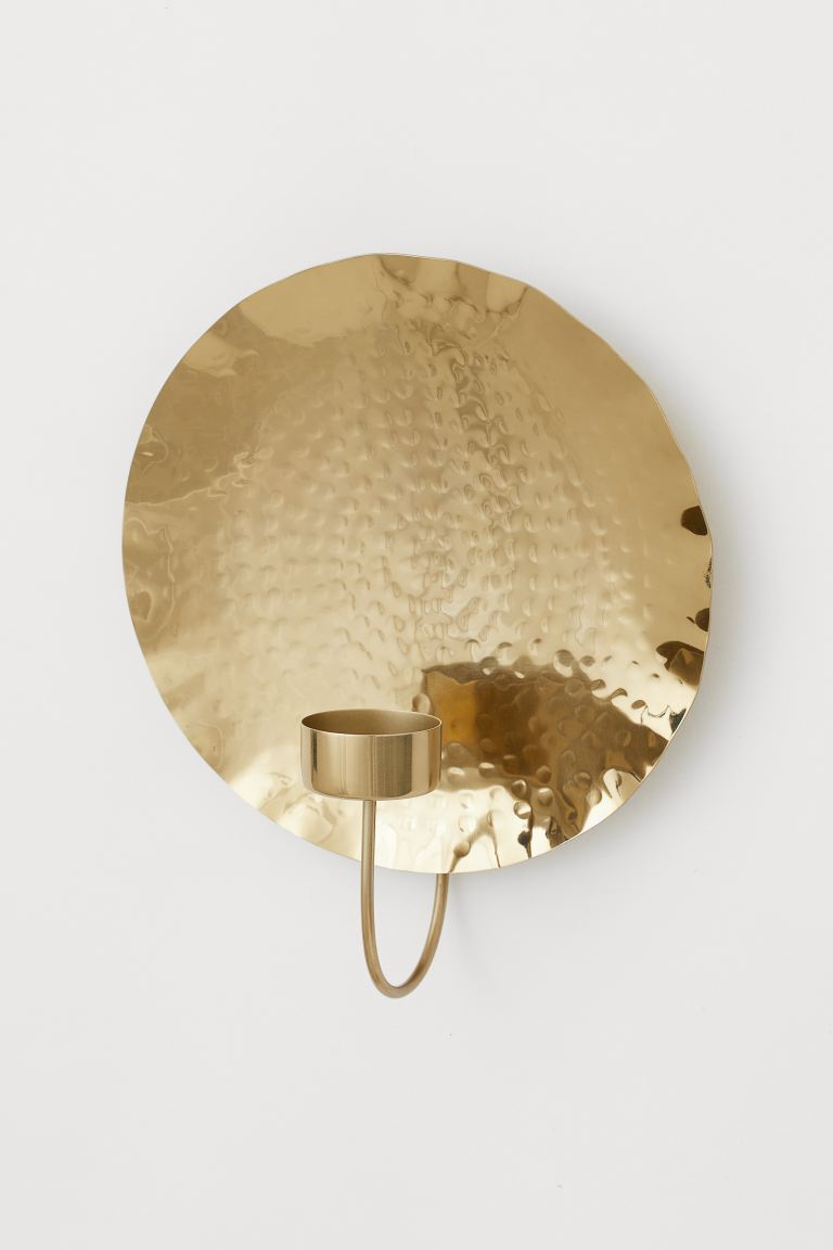 Portavelas de pared en metal - Dorado - HOME | H&M ES