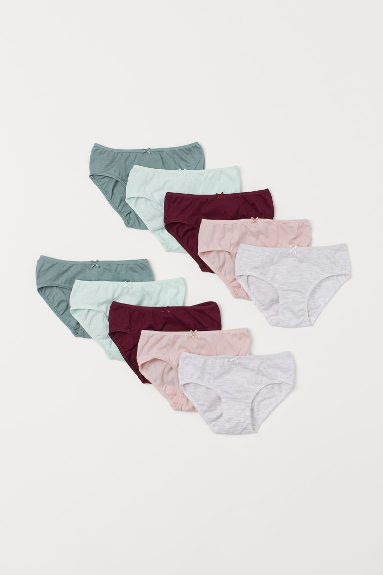 10-pack jersey briefs - Dark red/Multicoloured - Kids | H&M