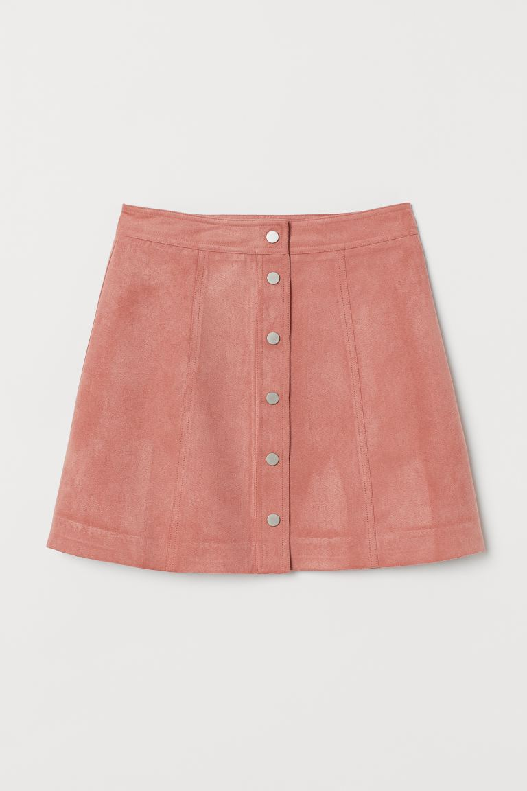 A-line Skirt - Dusty rose/Faux suede - Ladies | H&M AU
