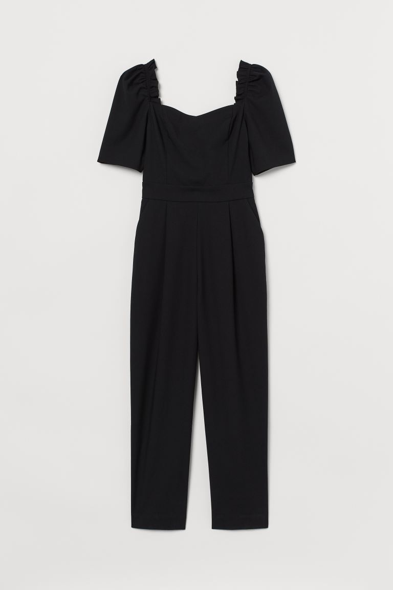 Puff-sleeved Jumpsuit - Black - Ladies | H&M US