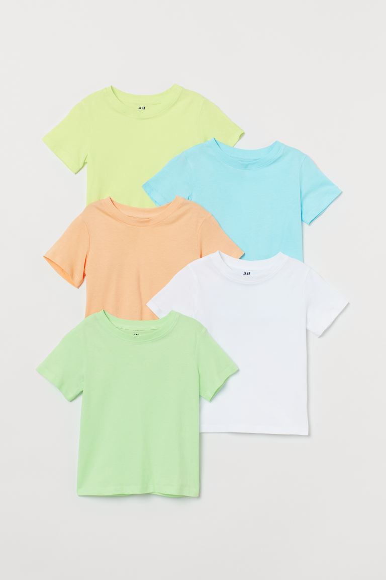 5-pack Cotton T-shirts - Light neon green - Kids | H&M US