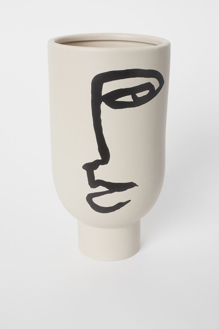 Tall vase with a motif - Light beige/Face - Home All | H&M GB