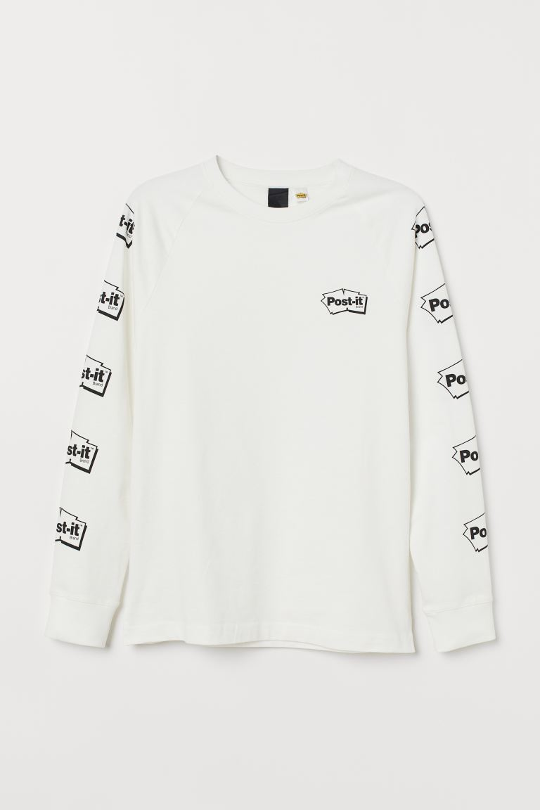 Long-sleeved cotton jersey top - White/Post-it - Men | H&M GB