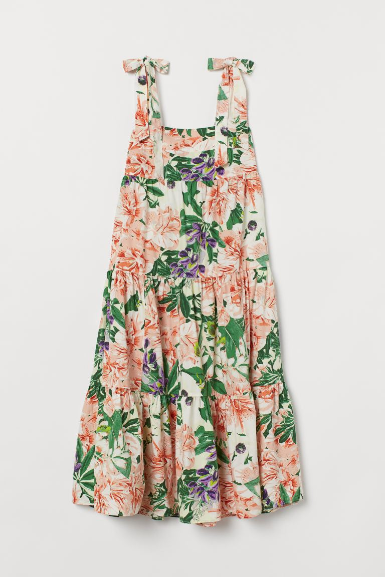 Cotton dress - Cream/Large flowers - Ladies | H&M IE