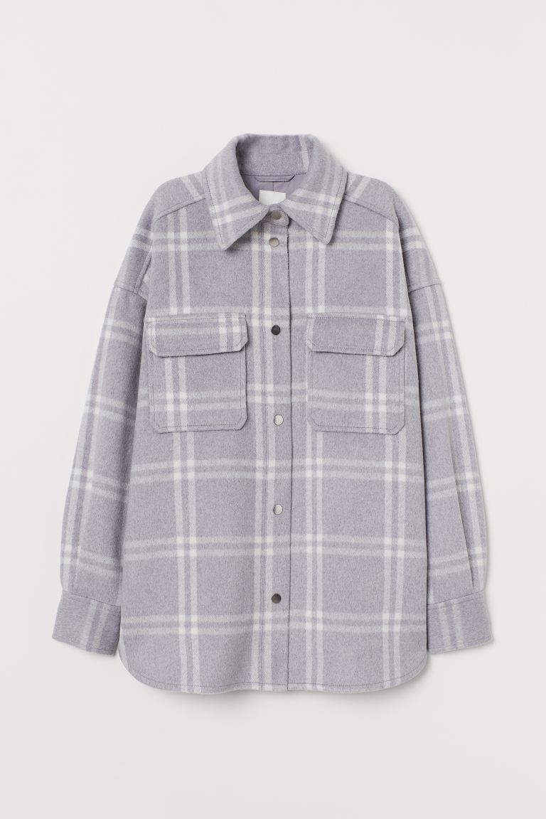 Felted Shirt Jacket - Light gray/checked - Ladies | H&M US
