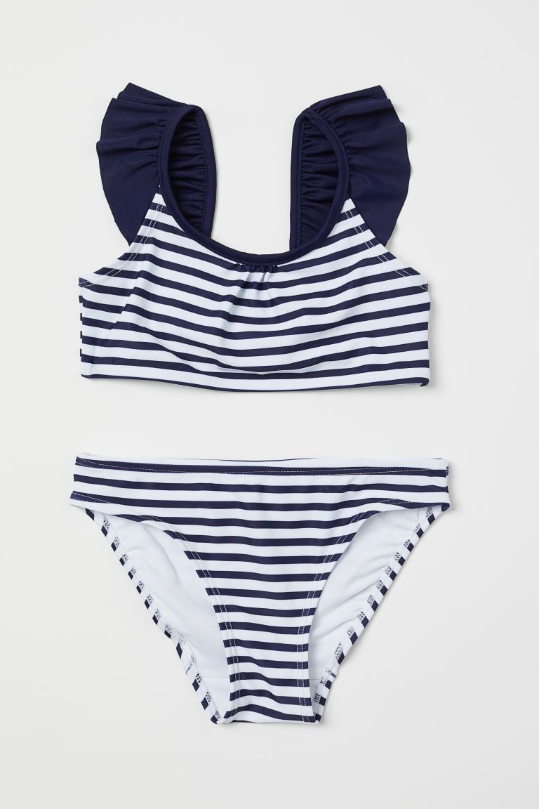 Patterned Bikini - Dark blue/striped - Kids | H&M US
