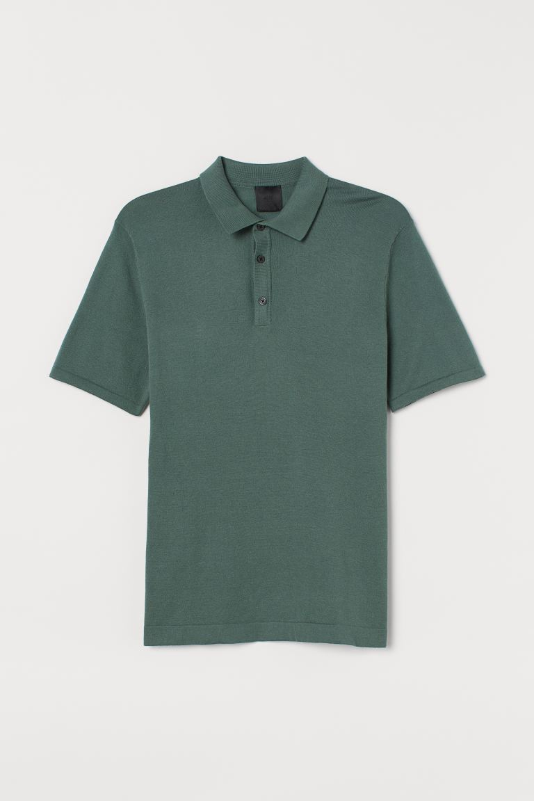 Fine-knit polo shirt
