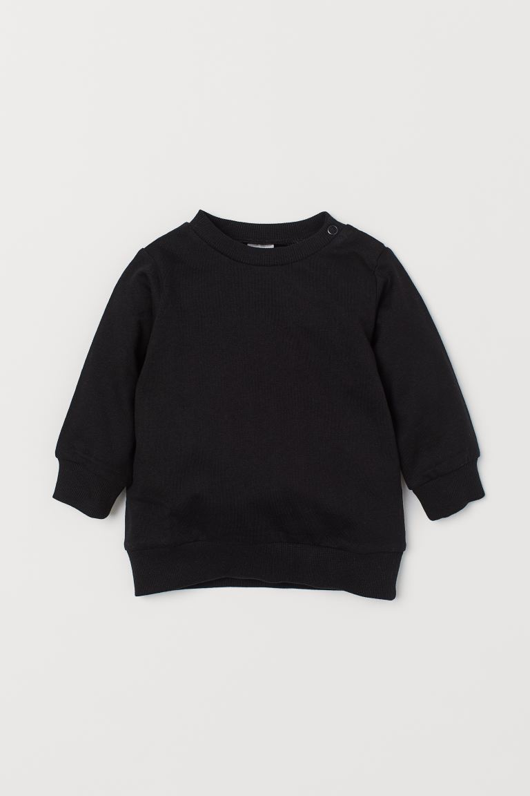 Cotton sweatshirt - Black - Kids | H&M GB