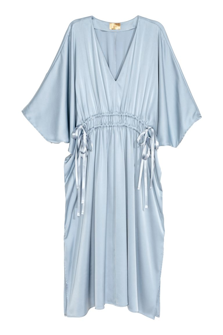 Satin kaftan dress - Light blue - Ladies | H&M GB
