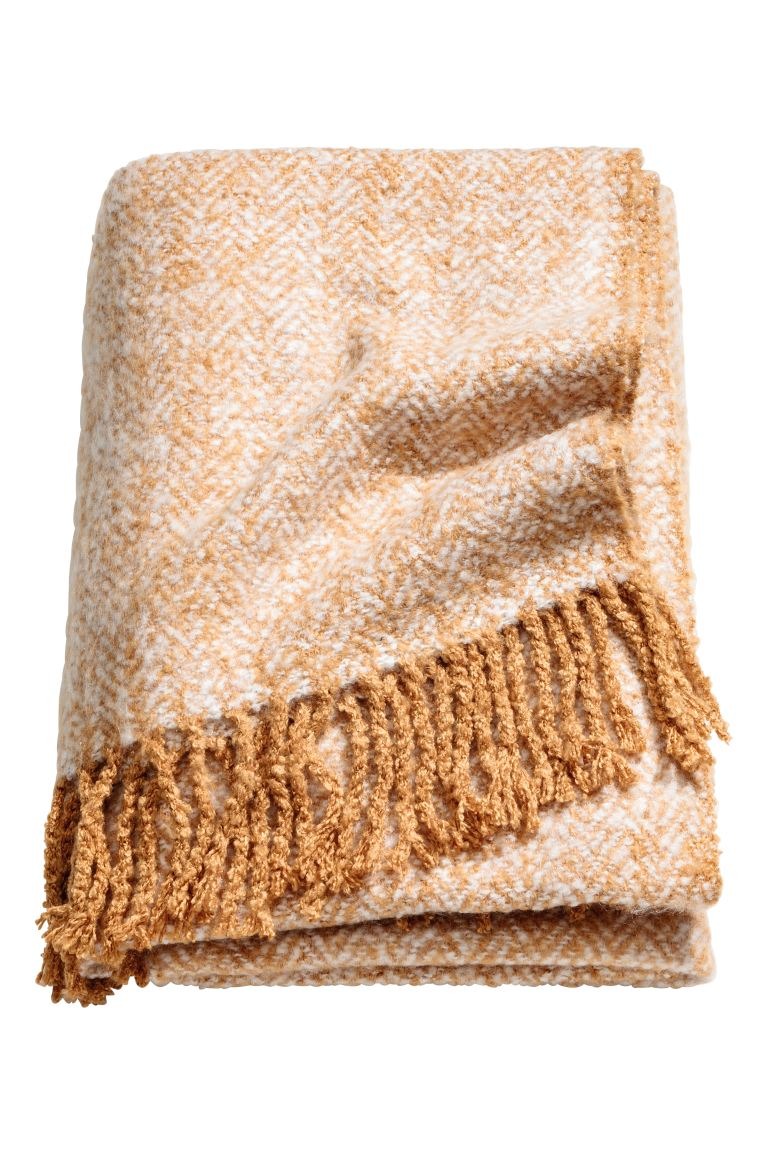 Herringbone-patterned blanket - Camel - Home All | H&M GB