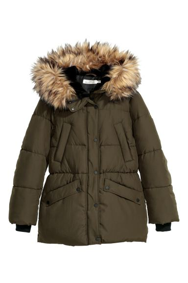 Padded Jacket Dark Khaki Green, H M Black Coat Fur Hood