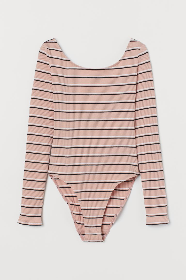 Langarmbody - Mattrosa/Gestreift - Ladies | H&M AT