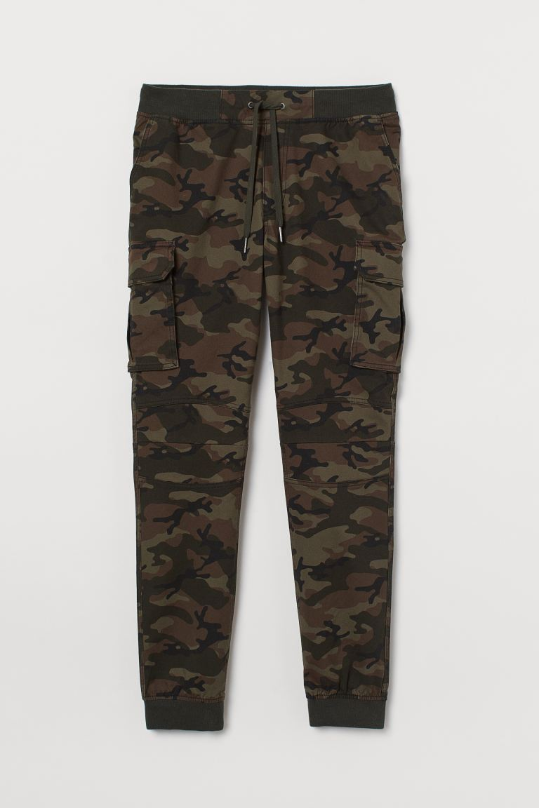 Cotton Cargo Joggers - Dark green/patterned - Men | H&M US