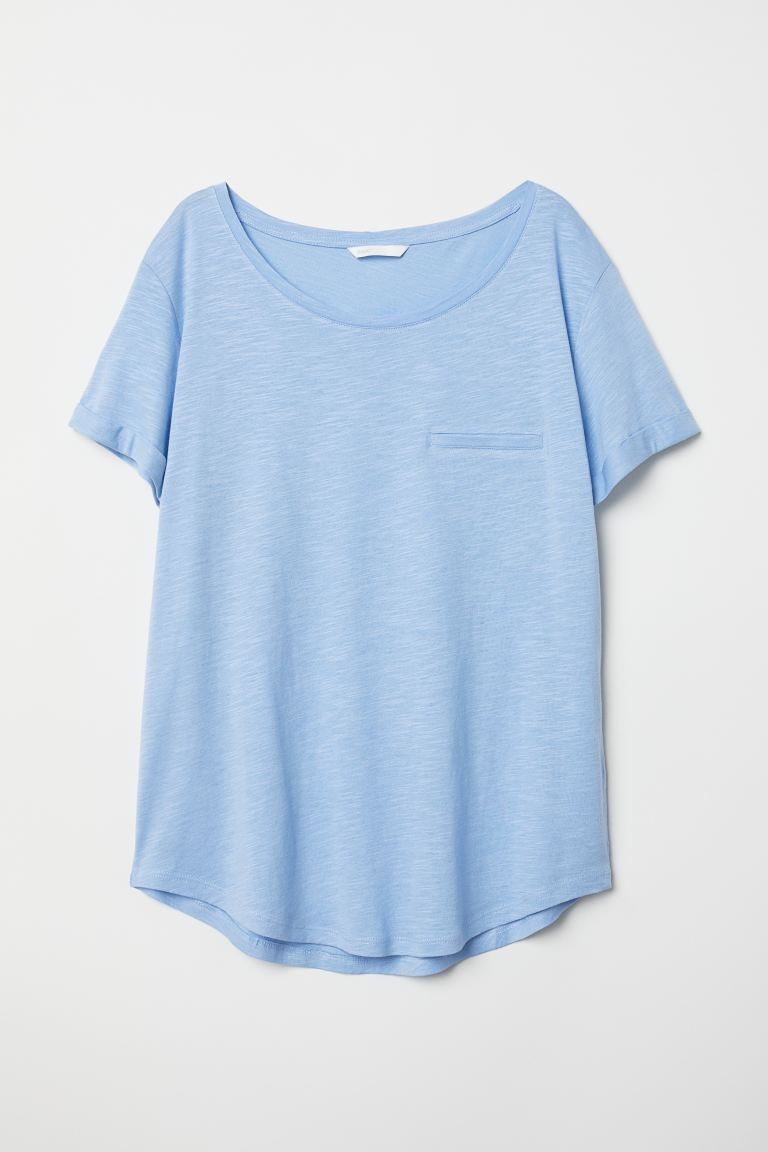 Round-neck T-shirt - Light blue - Ladies | H&M US