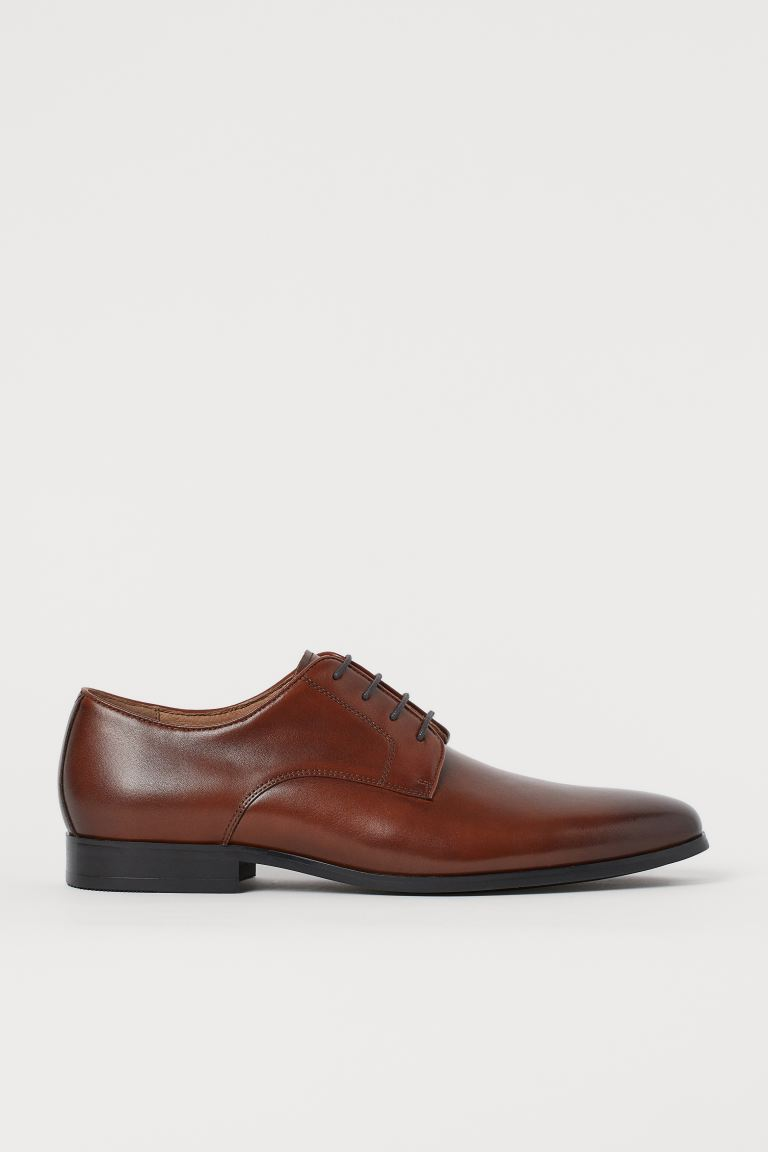 Leather Derby Shoes - Brown - Men | H&M US