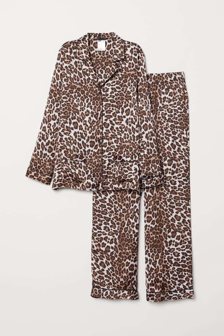 Pyjama shirt and bottoms - Beige/Leopard print - Ladies | H&M GB
