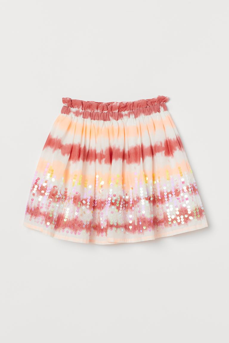 Sequin Detail Cotton Skirt - Red/Batik pattern - Kids | H&M AU